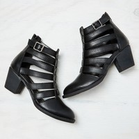 AEO Strappy Cutout Bootie, Black | American Eagle Outfitters