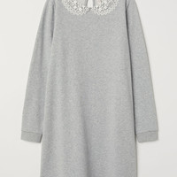 Sweatshirt dress with a collar - Grey marl - | H&M GB