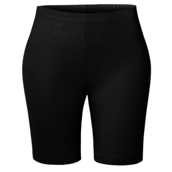 Active Mid Thigh High Waist Stretchy Cotton Jersey Cycling Bike Short (CLEARANCE)