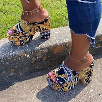 New fashion thick heel ladies slippers suede mid-heeled shoes plus size women's shoes