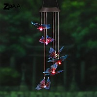 Solar Powered Lamp and Chime-  (Hummingbirds, Dragonfly, Butterfly Designs)