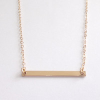 Simple bar, line, all gold filled dash necklace, modern, minimalist jewelry