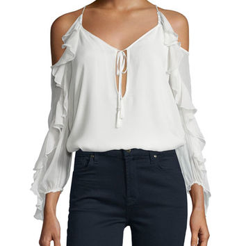 Haute Hippie The Flowers in the Sun Silk Cold-Shoulder Blouse, Ivory