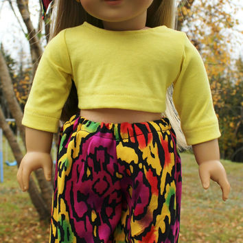 18 inch doll clothes, Harem, dance, yoga pants, oversized bow headband and yellow crop top, american girl, maplelea