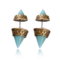 Accessory Vintage Double Sided Turquoise Simple Design Earrings [8581966023]