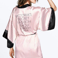 2016 Sexy Secret Women Kimono Bathrobe,Soft Silk Slip Satin Robes for Pajamas Party ,Pink Striped Lace Robe/Sleepwear/Peignoire
