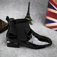 2018 New Style Patent Leather Ankle Boots Round Toe Thick Heel Chelsea Boots Elastic Fabric Women Boots Ladies Shoes Plus 35-42