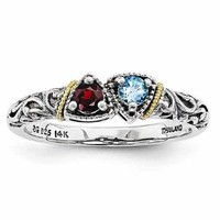 Sterling Silver Comfort Fit Ring W/ 14k Two Birthstones & Gold Accent - Mother's Rings