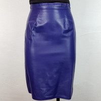 6 Vintage Deep Purple Leather Pencil Skirt High Waisted Zipper Back Tight Form Fitting Skirt Midi Length Vintage Fashion Vintage Skirt
