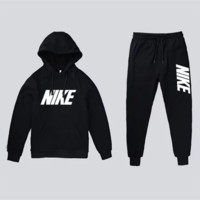 NIKE Autumn And Winter New Fashion Letter Hook Print Leisure Sports Men Hooded Long Sleeve Top Coat And Pants Two piece Suit Black