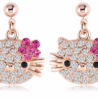 Hello Kitty Austrian Crystal Earrings