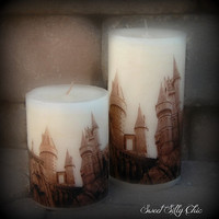 Hogwarts Photo Transfer Candle, Harry Potter Candle, Harry Potter Home Decor / Gift, Harry Potter Wedding Candle