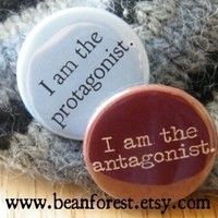 i am the protagonist/antagonist  pinback button by beanforest