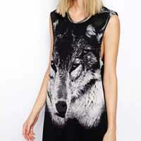 Printed Sleeveless Loose Dress