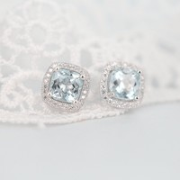 Sterling Silver Earrings with Faceted Square Shape Blue Topaz and CZ