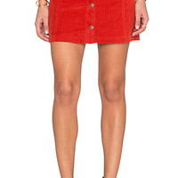 Patch Cord Button Front Skirt in Rust