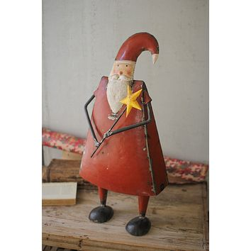 Recycled Iron Santa Holding A Star