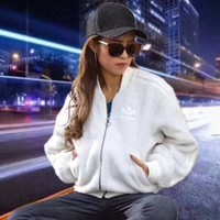 Adidas Women Fashion Zipper Cardigan Top Jacket Coat White