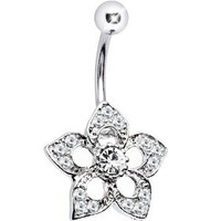 Selene Crystalline Flower Dangle Belly Button Ring: Jewelry: Amazon.com