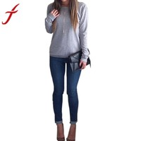 Casual  Womens Backless Long Sleeve Top