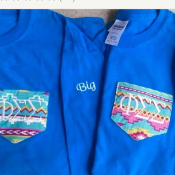 Long sleeve pocket tee with initials or greek letters- Can add big or little to sleeves