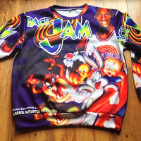 Space Jam Vintage Sweatshirt Crew Neck Sweater