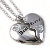 Best Friends Forever BFF Clear Heart Necklace Two Pendant Engraved Letters Fashion Jewelry