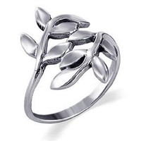 LWRS015-7 925 Sterling Silver Polished Finish Ivy Leaf Design Ring