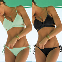 Bandage Swimwear Bathing Suits  Push Up Bikini Vintage Monokini
