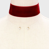 Thick Red Velvet Choker Necklace