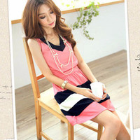 Color Block Striped Sleeveless Casual Dress