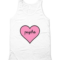 Psycho Cute Pink Heart Unisex Tank Top