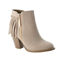Fall Fashion Must Have! Fringe Taupe Bootie Boots with Heel