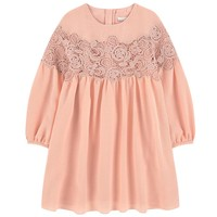 Girls Pink Crepe/Waffle Dress (Mini-Me)