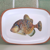 Trigger fish platter. Fun nautical gift. fish watercolor, fish lovers gift. food platter, art platter, brown, melamine tray