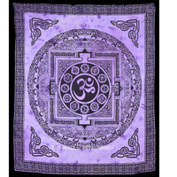 Purple Yoga Meditation OM Tapestry, Tie Dye Aum Wall Tapestry Bedding on RoyalFurnish.com
