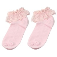 Vintage Cotton Lace Ruffle Frilly Ankle Socks Fashion Ladies Princes Retro Pink