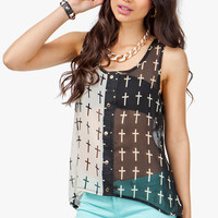 A'GACI Contrast Cross Print Button Front Tank - TOPS