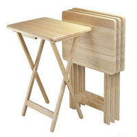Set of 4 - Folding TV Tables Coffee Table Set in Natural Finish