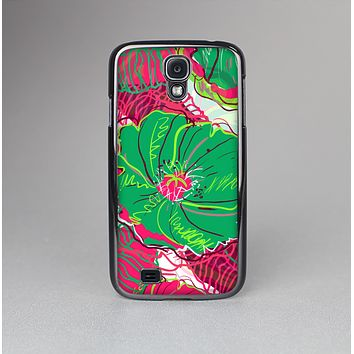 The Vibrant Green & Coral Floral Sketched Skin-Sert Case for the Samsung Galaxy S4