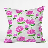 Rebecca Allen Peonies in Bloom Throw Pillow