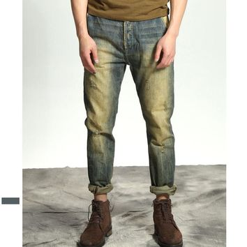 Men's Fashion Summer Strong Character Fashion Ripped Holes Simple Design Weathered Jeans [10422073539]