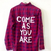 COME AS YOU ARE Vintage Flannel Shirt WARM COLORS (One of a Kind)