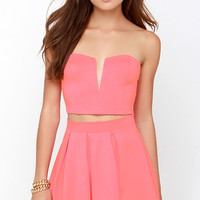 Working It Neon Coral Strapless Two-Piece Dress