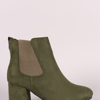 Suede Round Toe Chunky Heeled Ankle Boots
