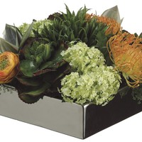 Lifelike Succulents, Protea, And Hydrangea Arrangement In A Square Dish