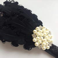 1920s Headband with Feathers - Great Gatsby Flapper Headband - Black Feather Headband - Flapper Headpiece - Rhinestone and Pearl Headband