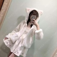 Super Cute Women's Faux Fur Cat Ears Fluffy Hooded Coat Winter Long Sleeve Lolita Nekomimi Outwear Jacket White & Pink & Black