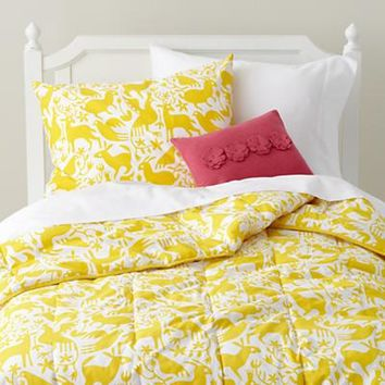 Kids' Bedding: Yellow Otomi Animals Bedding in Girl Bedding | The Land of Nod