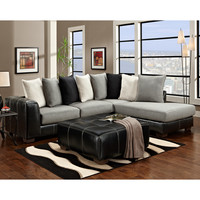 Exceptional Designs Idol Steel Microfiber L-Shaped Sectional